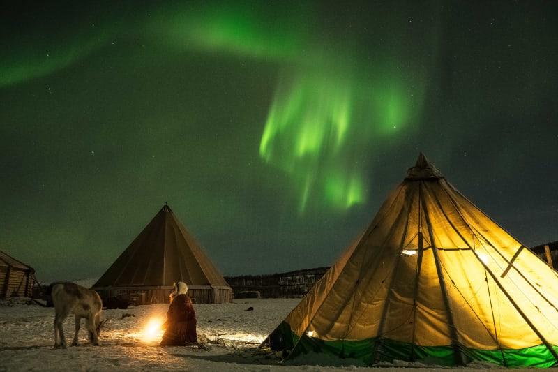 Northern Lights above Sami camp