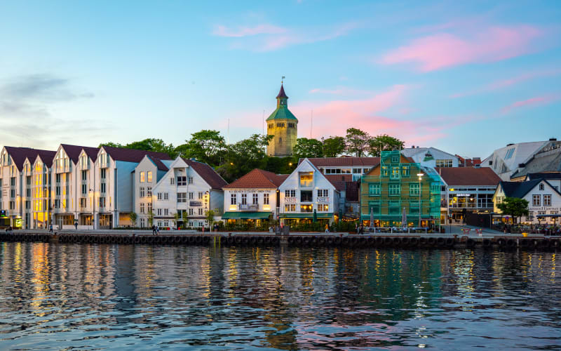 Vibrant nightlife at the harbor of Stavanger