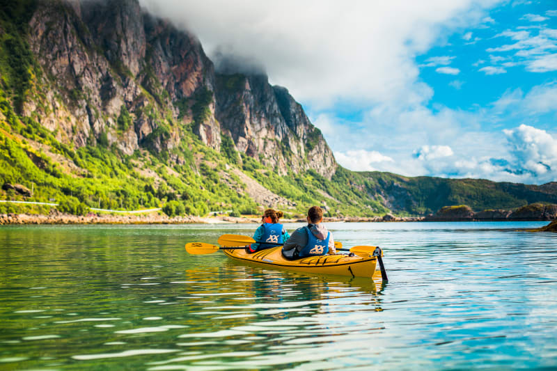 Kayaking in Lofoten with double kayak