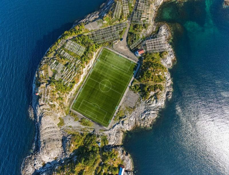 Henningsvær stadium from above