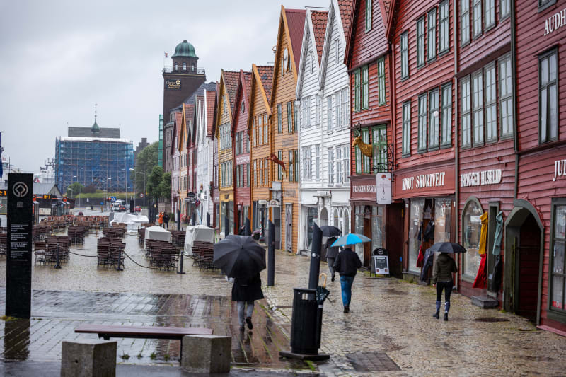 Rainy weather at Bryggen in Bergen