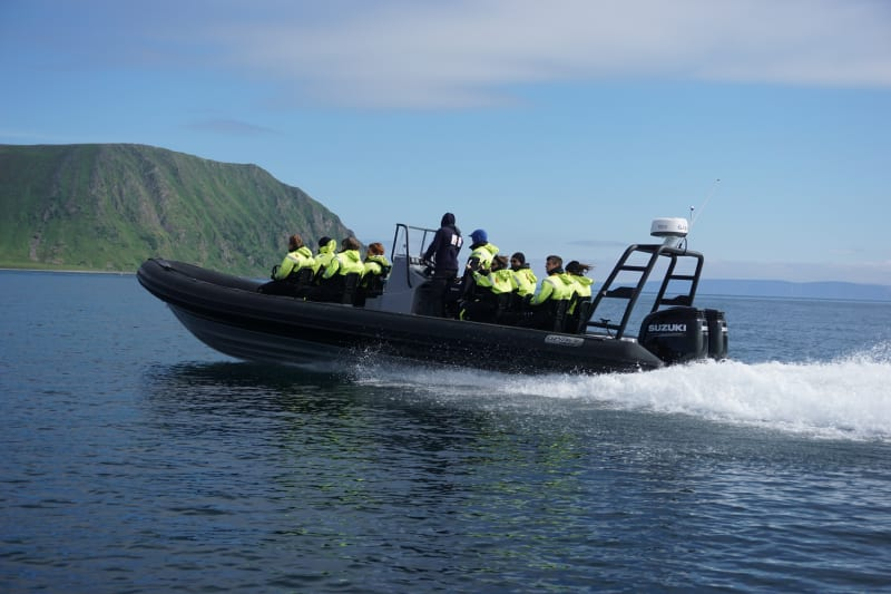 Deep sea rafting with RIB at Nordkapp