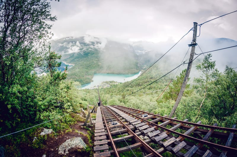 Hiking up the stairs at Flørli