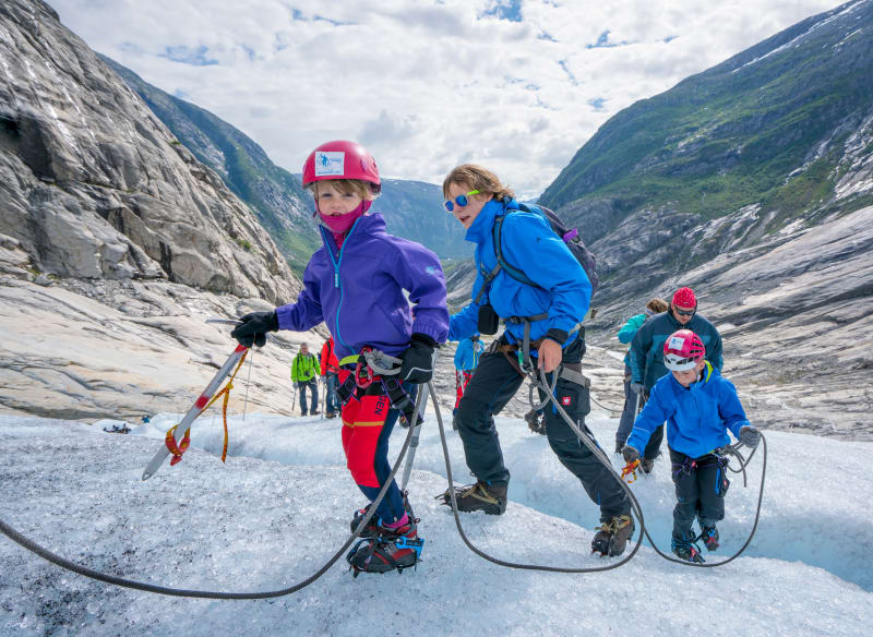 Kids enjoying glacier hike at Nigardsbreen