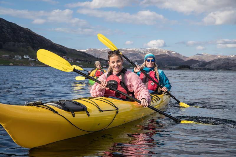 Girls on kayak trip in Bremanger