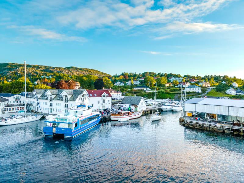 Fjord boat at Bekkjarvik marina at Austevoll on the west coast of Norway