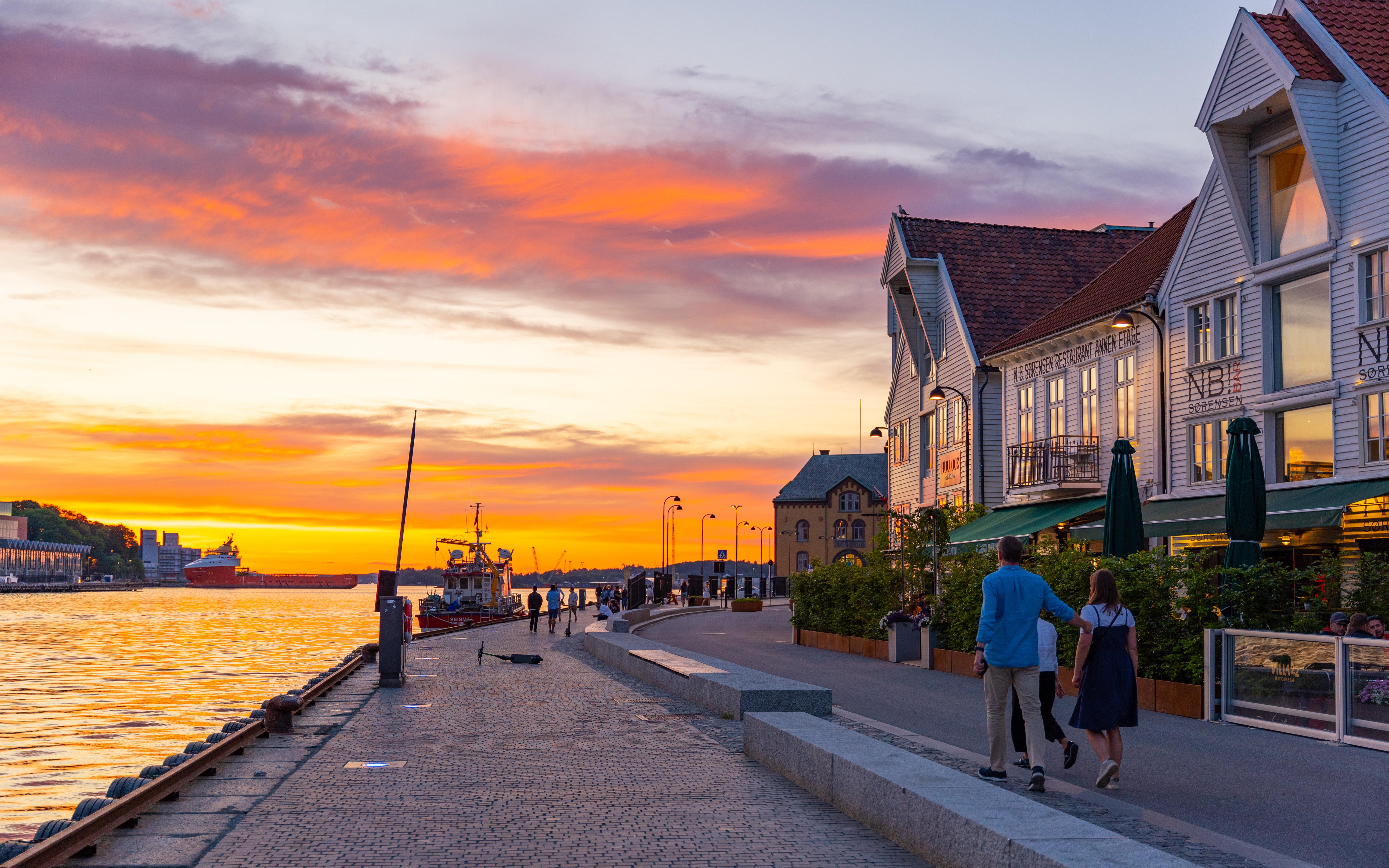 Golden sunset at the harbor of Stavanger