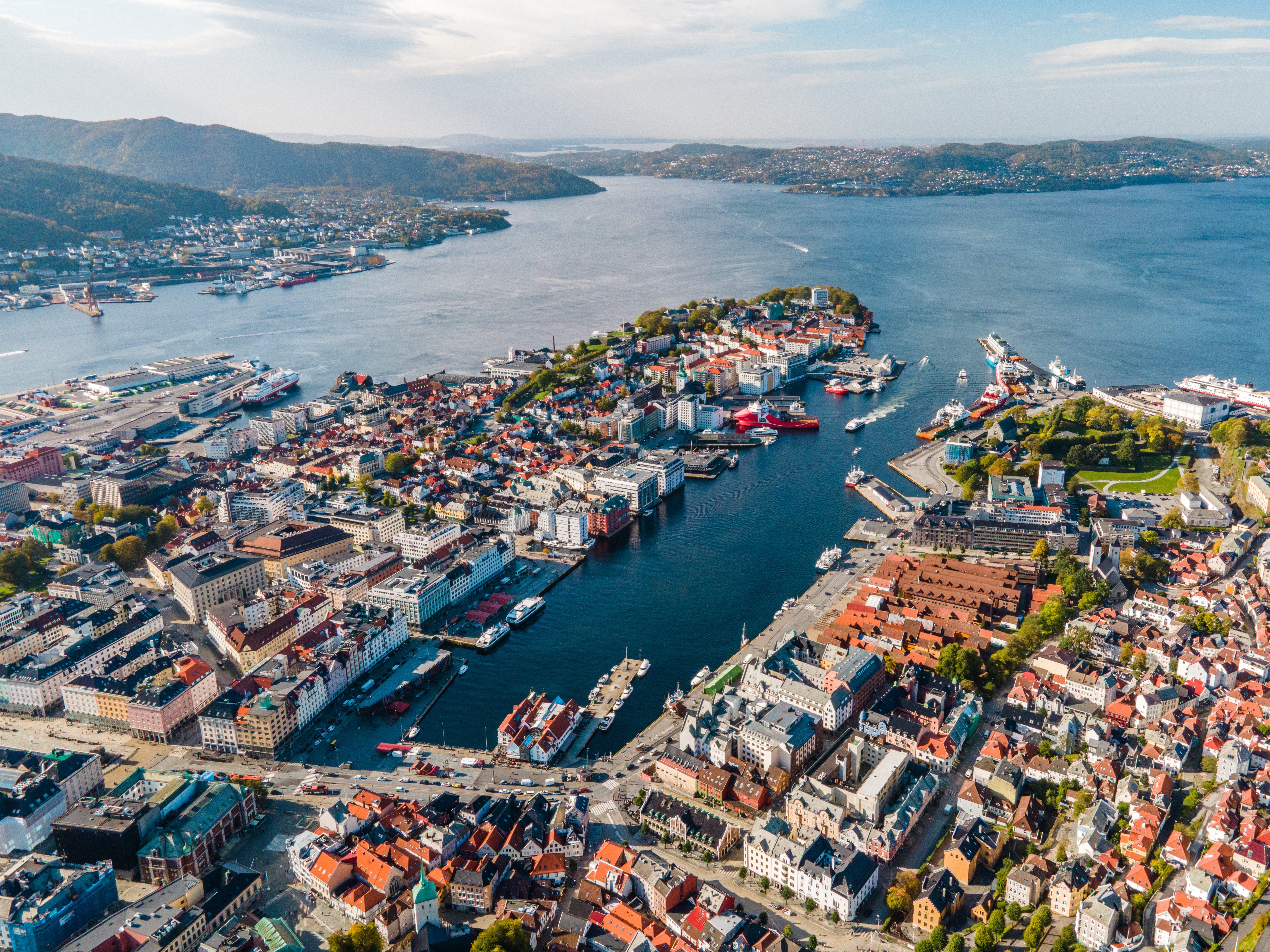 Panorama view of Bergen city - the gateway to the Norwegian fjords