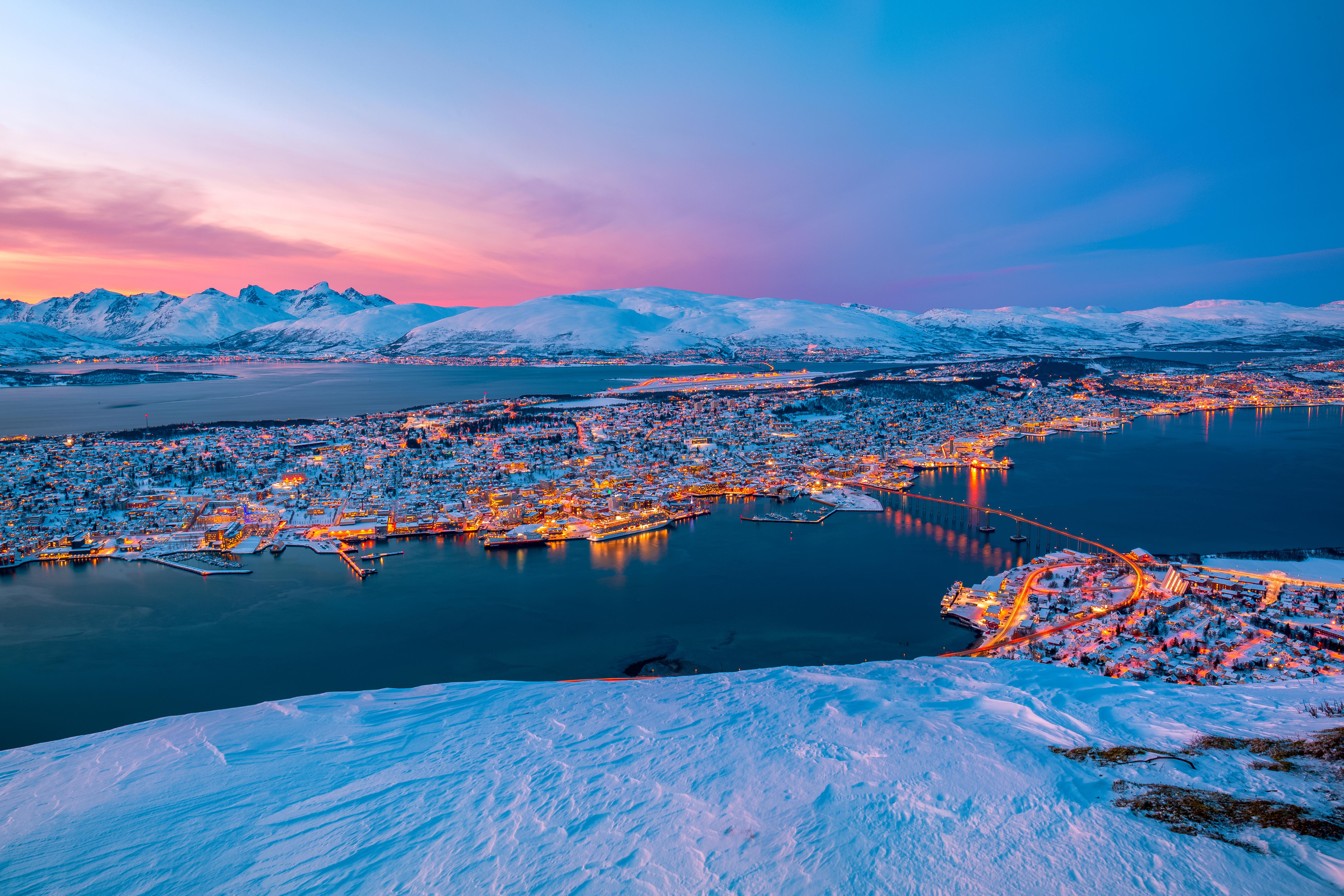 Pink sunset over Tromsø city