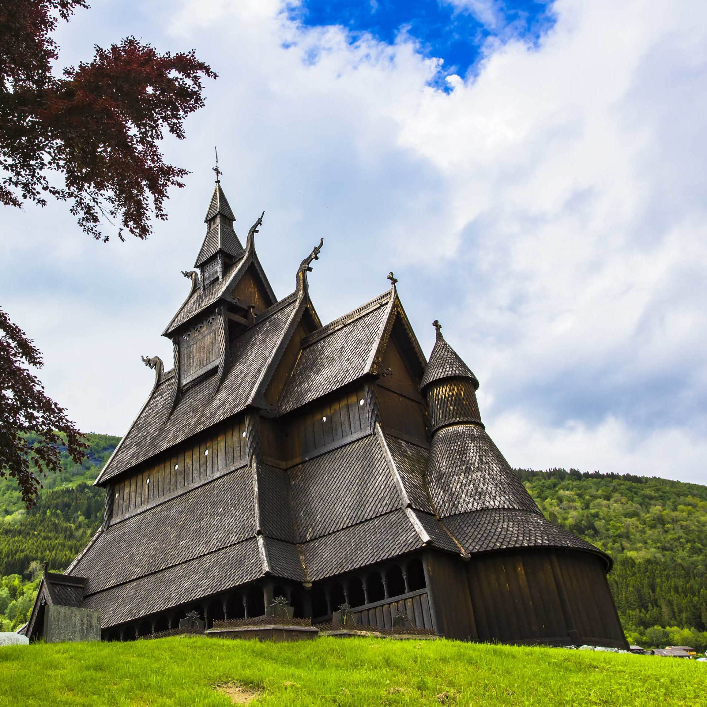 A view of the brown wodden church named Hopperstad Stave Church located in Vik in Norway.