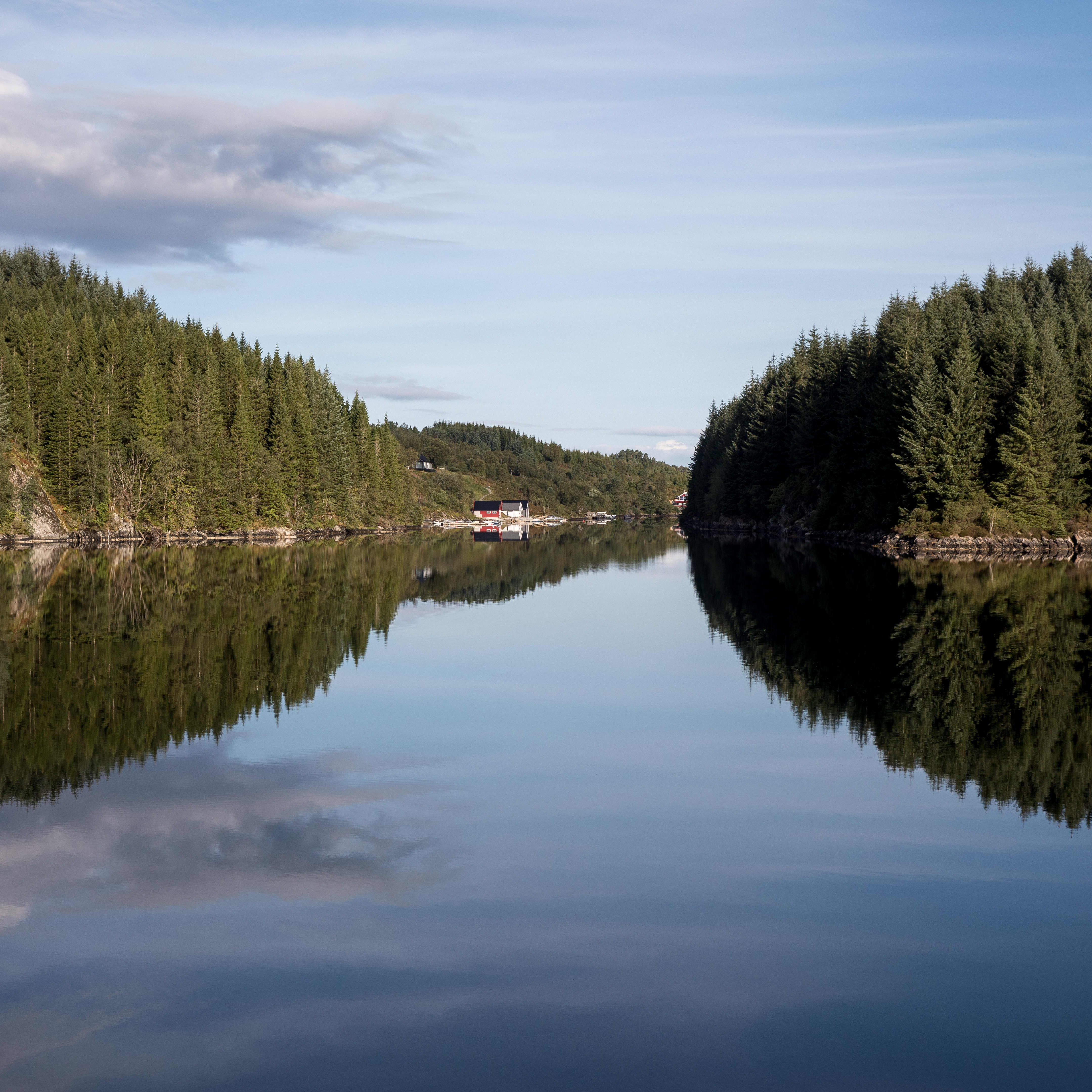 A mirror reflection of trees and islands in still water in the narrow streams between Bergen and Skjerjehamn.
