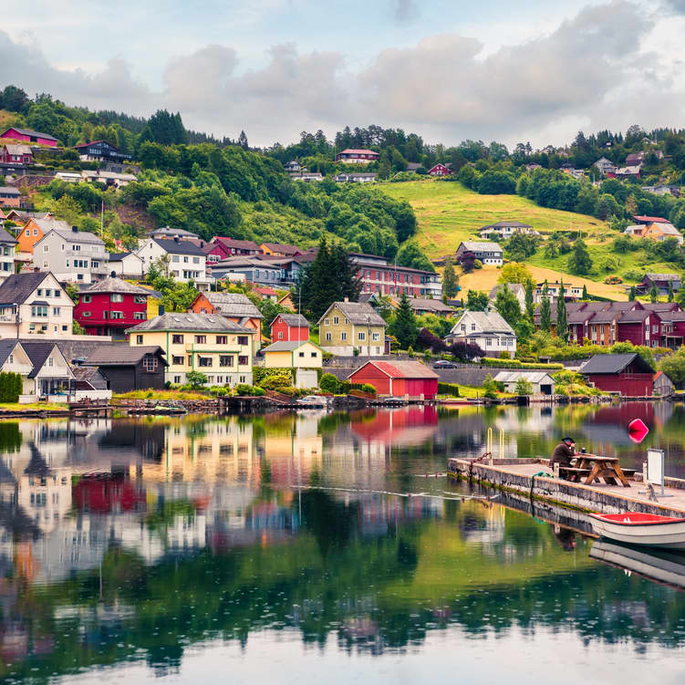 Colorful summer view of Norheimsund village, located on the northern side of the Hardangerfjord