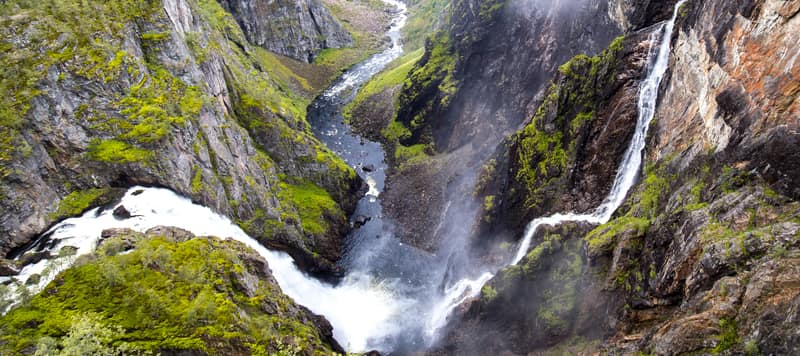 A birds view perspective of the Voeringsfoss in Hardanger, Norway.