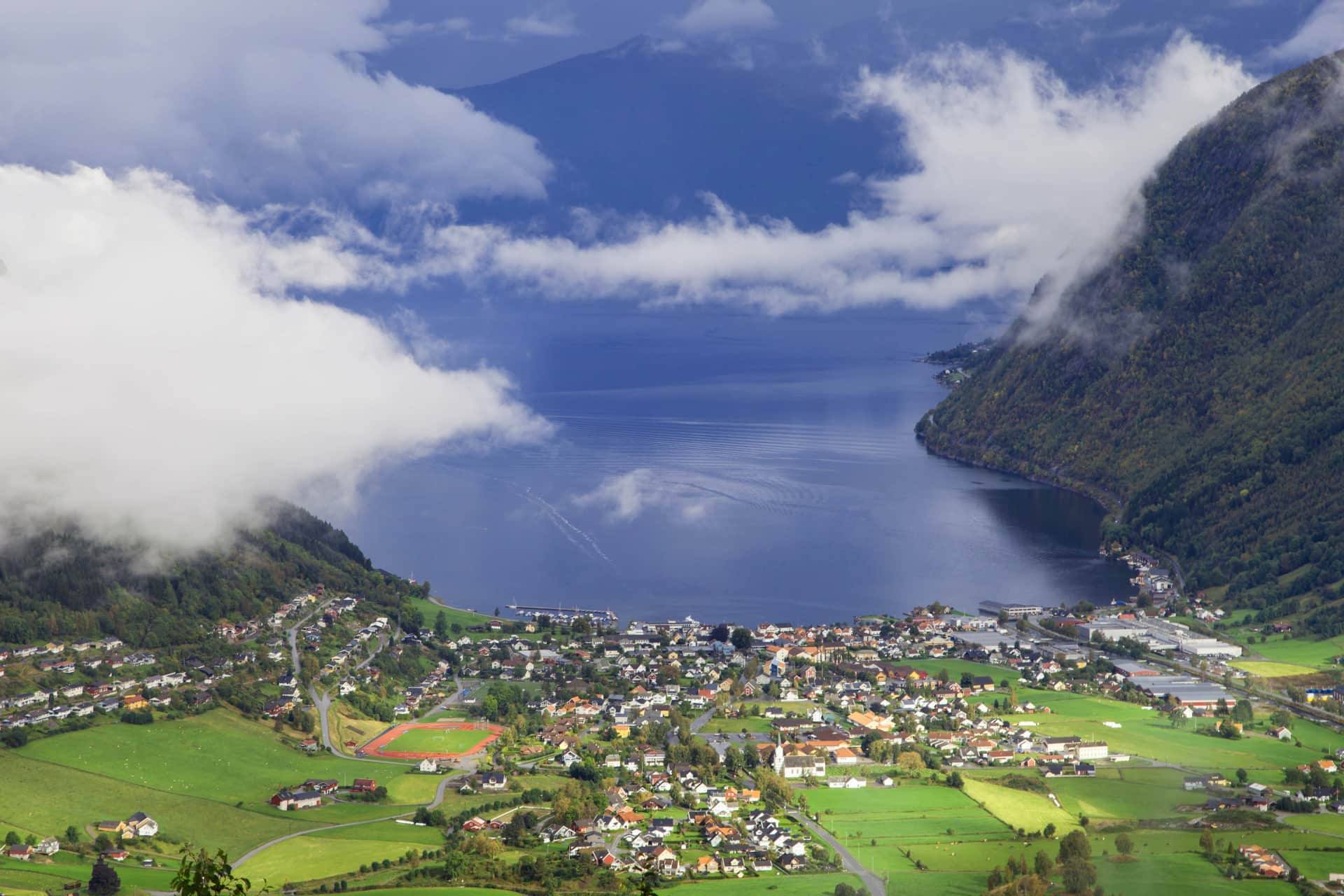 A view of the small village of Vik seen from a view point above the village where you also see the Sognefjord  bordering Vik.