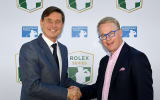 Keith Pelley (re), CEO der European Tour und Laurent Delanney, Gobal Head of Sponsorship and Partnership bei Rolex, bei der Verkündung der neuen Turnierserie
