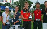 Die Medaillengewinner der Allianz German Boys and Girls Open: Annabell Fuller, Emma Spitz, Linn Grant, Falko Hanisch, Jiri Zuska und Jannik de Bruyn (v.l.) (Foto: DGV/stebl)