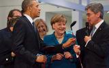 Obama, Merkel und Siemens CEO Kaeser in Hannover 2016.