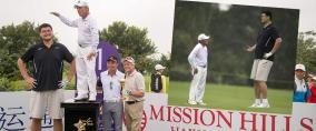 Gegenüber Yao Ming wirkt sogar einer der größten Golfer der Welt ganz winzig. (Fotos: Getty)
