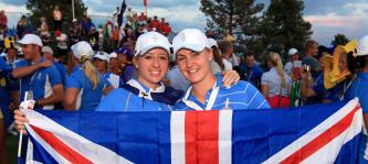 Charley Hull und Jodi Ewart beim Solheim Cup 2013.