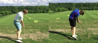 Zwei unterschiedliche Schwungtypen bzgl. der Seitneigung der Wirbelsäule: Während eine aufrechte Haltung die Bandscheiben und Rückenmuskulatur schont (links), entstehen bei extremer Seitneigung schädliche Kräfte (rechts). (Bild: Golfmedizin Stuttgart)