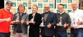 Von links nach rechts: Alex Pielok und Michael Praxl (Wir lieben Golf), Orla Kraft (Golf in Ireland), Vicente Salamanca (Golf Fleesensee), Matthias Gräf (Golf Post) und Michael Ogger (Golf Hoch Zehn) (Foto: Rheingolf)