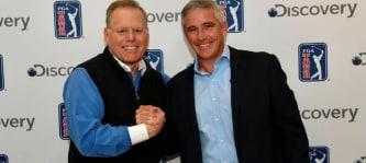 Discovery CEO David Zaslav (li.) zusammen mit PGA TOUR Commissioner Jay Monahan (re.), nach erfolgreichem Abschluss des Deals. (Foto: twitter.com / @33signals)
