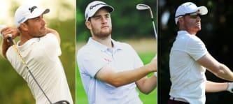 Florian Fritsch, Max Schmitt und Philipp Mejow sicherten sich bei der Irish Challenge einen Platz in den Top 20. (Fotos: Getty u. Instram/@maxschmittgolf)