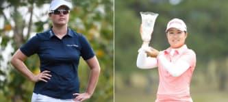Caroline Masson (li.) landet auf der LPGA Tour im Mittelfeld, während Nasa Hataoka das Feld dominiert. (Foto: Getty)