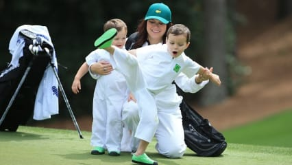 AUGUSTA, GEORGIA - APRIL 06: Wife of Marc Leishman of Australia and Audrey Hills and their sons Oliver and Harvey attend the Par 3 Contest prior to the start of the 2016 Masters Tournament at Augusta National Golf Club on April 6, 2016 in Augusta, Georgia. (Photo by David Cannon/Getty Images)