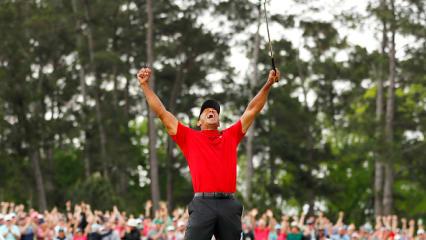 So schön jubelt Tiger Woods über seinen 15. Major-Titel