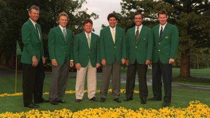 V.l.n.r.: Sandy Lyle, Bernhard Langer, Ian Woosnam, Jose Maria Olazabal, Seve Ballesteros und Nick Faldo vor dem Champions Dinner beim US Masters Tournament 1995, (Foto: Getty)