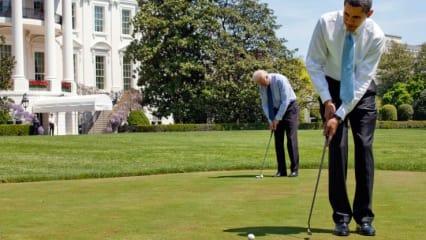 Er will doch nur spielen - Barack Obama wird seine Golf-Leidenschaft regelmäßig zum Verhängnis. (Foto: Getty)