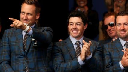 An ihnen führt im Team Europa kein Weg vorbei, sie geben die Richtung vor: Ian Poulter, Rory McIlroy und Graeme McDowell (v.l.).