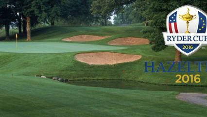 Loch 17 auf dem Hazeltine National Golf Club. Hier werden sich 2016 die USA und Europa im Ryder Cup duellieren.