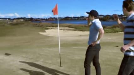 Ein paar australische Profi-Baseballspieler haben Golf mit Baseball kombiniert und dabei ziemlich beeindruckend eingelocht. (Foto: youtube)