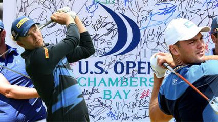 Bernd Wiesberger, Marcel Siem, Martin Kaymer und Stephan Jäger (v. l.) starten auf ihre erste Runde der US Open 2015.