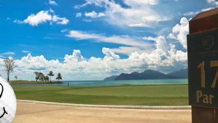 BoB vor einer der schönsten Golfkulissen der Welt im The Els Club Teluk Datai in Malaysia.