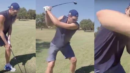 Dirk Nowitzki versucht sich beim Turnier der Dallas Mavericks im Golfen.