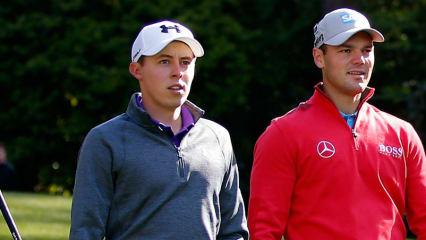 Martin Kaymer schlägt bei der Irish Open gemeinsam mit dem Youngster Matthew Fitzpatrick ab. (Foto: Getty)