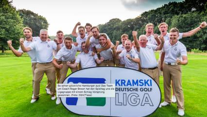 So sehen glückliche Hamburger aus! Das Team um Coach Roger Brown hat den Spieltag und die Ligagruppe mit einem Schlag Vorsprung gewonnen. (Foto: DGV/Tiess)
