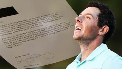 Rory McIlroy spielt nicht nur vorbildlich Golf. In einem Brief zeigt er sich als Inspiration für den Nachwuchs.