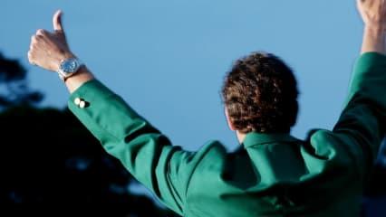 Adam Scott präsentiert das Grüne Jackett nach seinem Masters Sieg 2013. (Foto: Getty)