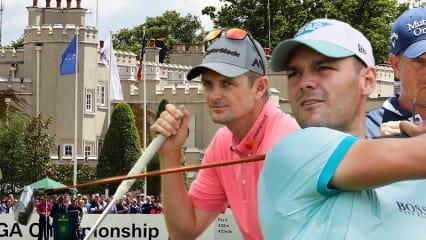 Justin Rose, Martin Kaymer und Henrik Stenson (v.l.) gehören im neu gestalteten Wentworth Golf Club zu den Favoriten auf den Sieg bei der BMW PGA Championship.