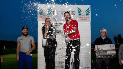 Lara Lehnstaedt und Anton Kirstein feiern ihren Sieg bei der German Long Drive Championship mit einer ordentlichen Champagnerdusche. (Foto: DGS)