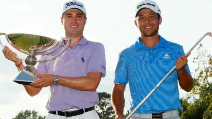 Justin Thomas (li.) und Xander Schauffele durften zum Saisonendebeim FedExCup Finale, der Tour Championship nochmal jubeln. (Foto: Getty)