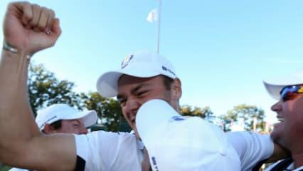 Martin Kaymer mit dem Gewinnerjubel, nach seinem legendären Putt beim Ryder Cup 2012. (Foto: Getty)