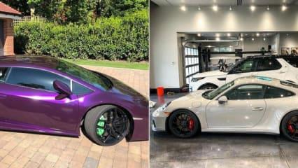 Tyrell Hatton mit neuer Farbe auf seinem Lamborghini Huracán und Ian Poulter mit seinem ersten Porsche. (Foto: Instagram / @tyrellhatton, @ianjamespoulter)