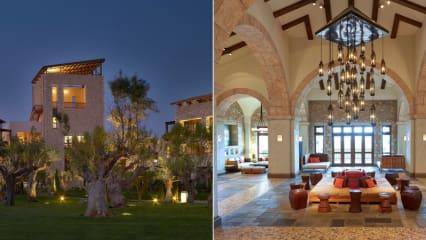 Blick in die Wohnanlage 'The Westin Resort Costa Navarino und die Lobby des Resorts. (Fotos: Jürgen Linnenbürger (re.) und Costa Navarino (li.))
