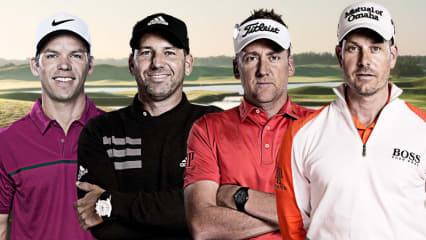 Paul Casey, Sergio Garcia, Ian Poulter und Henrik Stenson sind die vier Wildcard Picks von Thomas Björn für den Ryder Cup 2018. (Foto: Twitter/@SkySportsGolf)