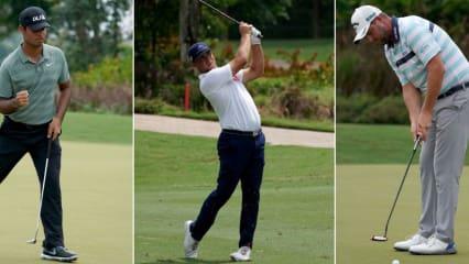 Sharma Shubhankar, Gary Woodland und Marc Leishman (v. li. n. re.) führen das Feld auf der PGA Tour in Kuala Lumpur mit zwei Schlägen Vorsprung an. (Foto: Getty)